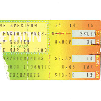 DEF LEPPARD & BILLY SQUIER Concert Ticket PHILLY PA 3/29/83 SPECTRUM PYROMANIA