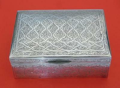 Vintage Antique Middle Eastern Islamic Cigarette Box Silver Marks Excellent Cond