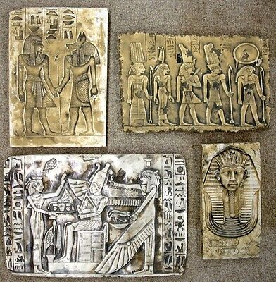 Lot of 4 Ancient Egyptian Wall Fragment King Tut,Ramses II,Isis, Anubis
