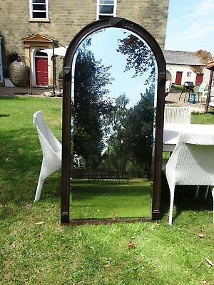 Impressive antique Early 20th Century oak extra tall overmantle / wall mirror