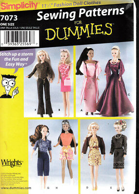 Simplicity Sewing Pattern For Dummies #7073 Barbie Doll Clothing Sewing Pattern