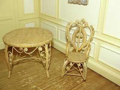 Dollhouse Miniature Rattan Table & Chair