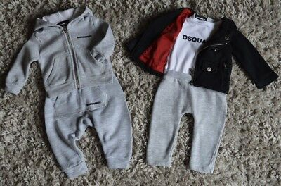 Baby Boy Dsquared2 Designer Clothes Bundle 6 Months Jogging Suit&  One Piece Vgc