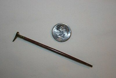 Miniature Dollhouse Artisan Well Made Brass & Wood Walking Stick Cane 1:12 NR