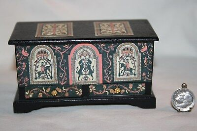 Miniature Dollhouse Vintage ME Manning Tudor Wood Chest Signed 1:12 NR