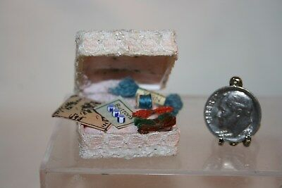 Miniature Dollhouse Lace Covered Box w Sewing Supplies Pins Pattern Yarn Buttons