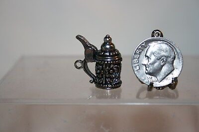 Miniature Dollhouse German Beer Stein w Floral Relief Jewelry Charm Lid OPENS NR