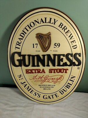 Guinness Extra Stout Harp Logo Oval Wooden Beer Sign 3D Pre-Owned