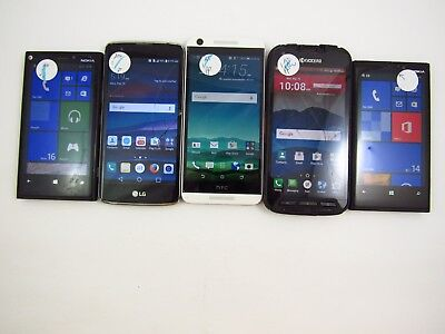Lot of 5 Cracked Assorted ATT Phones Check IMEI 5CR 1263