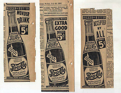 Three 1937 newspaper ads for Pepsi-Cola soda -Extra Good, Wonder Drink, Accepted