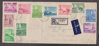 Mauritius - 1950 Registered cover with 13 stamps mailed to USA
