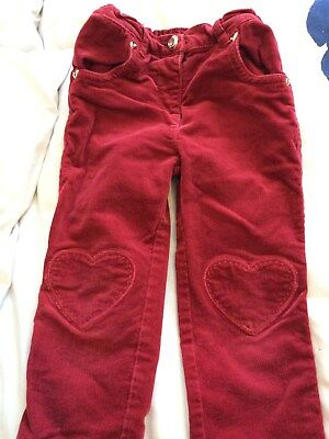 TU red - little girls cord trousers with heart detail age 3 to 4