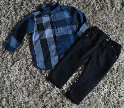 Baby Boys Burberry Zara Designer Clothes Bundle Shirt & Skinny Jeans 1 Year Vgc