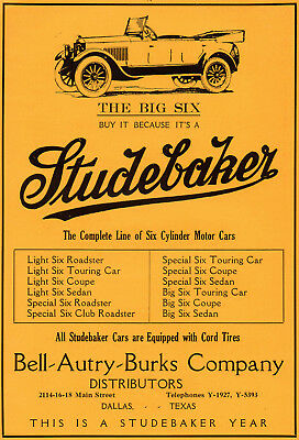 1920 Studebaker Car Company, South Bend, Indiana Color Automobile Advertisement