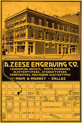 1920 A. Zeese Engraving Co, Dallas, Texas Color Picture Map Advertisement