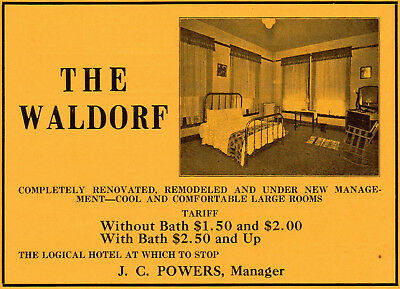 1920 Waldorf Hotel, Dallas, Texas J. C. Powers Mgr Color Picture Advertisement