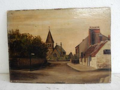 really old PAINTING oil small landscape village crossroad