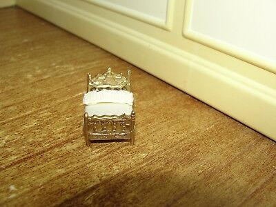 Dollhouse Miniature Gold Metal Dressed Doll's Bed