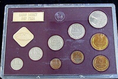 1987 Russia Leningrad Mint Proof Like 9-Coin Set W/ Medal Box Has Stain & Damage