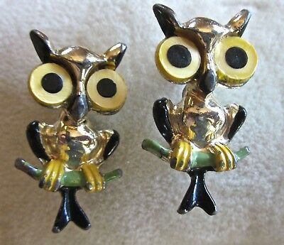 Scarce To Rare Lot Of Two Vintage Painted Alloy & Plastic Eyes Owl Scatter  Pins