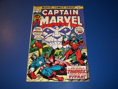 Captain Marvel #28 Bronze Age Avengers Starlin Thanos Fine+ Beauty Scarlet Witch