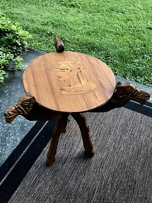 RARE Egyptian Hand CARVED WOODEN CAMEL TABLE  WITH SPHINX design TOP Vintage