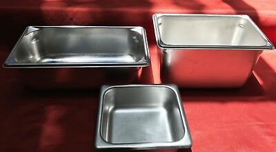 3 Commercial Vollrath SyscoWare Bloomfield Deep 18/8 Stainless Steel USA Pans