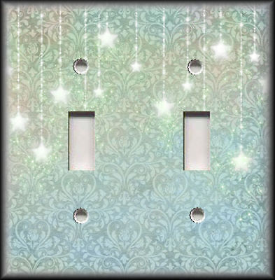 Metal Switch Plate Covers Mystical Home Decor Blue Green Damask Sparkling Stars