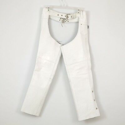 Women's Motorcycle Leather Chaps Pants Size XXS XX-Small White JAMIN LEATHER