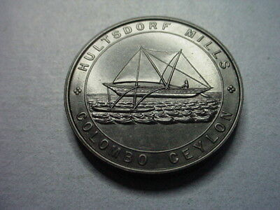 India Colombo Ceylon Token Hultsdorf Ship 1872 UNC #62459