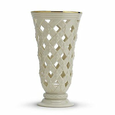 Lenox Classic Gold Banded Ivory China Pierced Lattice Vase NEW IN BOX