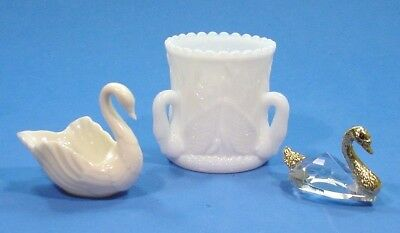 3 Vintage Swan Figurines Westmoreland Glass Lenox Bone China + Crystal / Metal