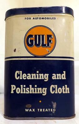 Vtg Tin Litho Gulf Cleaning & Polishing Cloth for Automobiles Can w Cloth