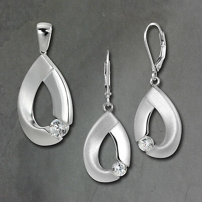 Set Pendant and Earrings Big Zirconia 925er Silver SDS4907W [Imppac]