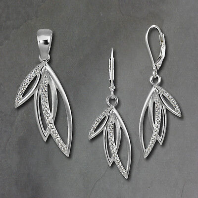 Set Pendant and Earrings Leaves Zirconia 925er Silver SDS4904W [Imppac]
