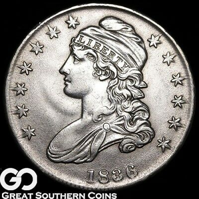 1836 Capped Bust Half Dollar, Nice Coin, Highly Sought After Type, Lettered Edge