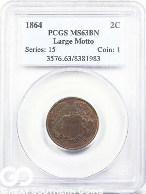 1864 PCGS Two Cent Piece, Large Motto, PCGS MS 63 BN ** Nice Civil War Date