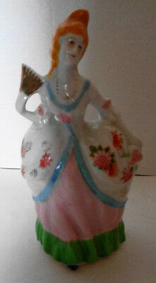 Vintage Victorian Lady with Fan Wall Pocket Porcelain Hand Painted Japan