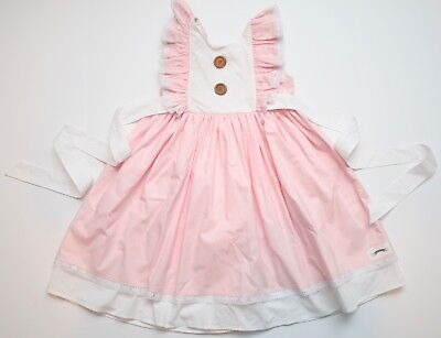 Girls Pepper Laine Louise Button Back Dress Pink Size 6 READ
