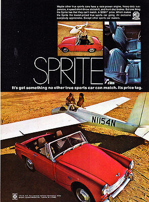 """1969 MG Sprite Convertible & Glider photo """"Can't Be Matched"""" vintage print ad"""