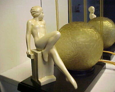 Art Deco 1920's Modernistic Nude Lady Metal Lamp w Ball Shade - Frankart Era