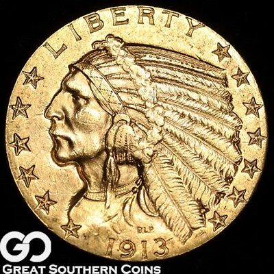 1913 Half Eagle, $5 Gold Indian ** Free Shipping!