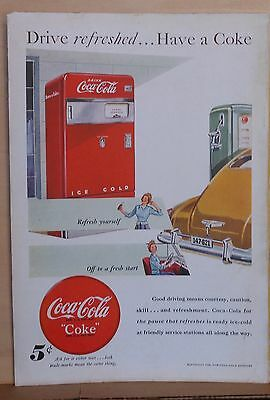 1948 magazine ad for Coca-Cola - gas station Coke machine, Drive Refreshed