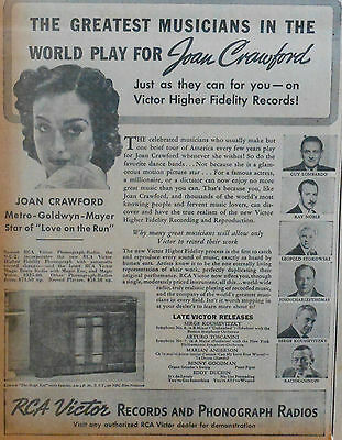 """1936 newspaper ad for RCA radios - Joan Crawford of """"Love on the Run"""", musicians"""