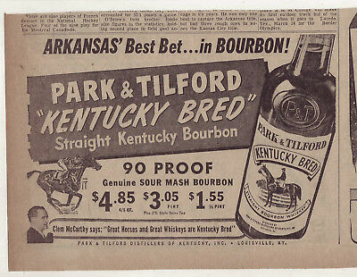 1953 newspaper ad for Park & Tilford Bourbon - Kentucky Bred, Clem McCarthy