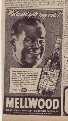 1937 newspaper ad for Mellwood Kentucky Straight Bourbon Whiskey - Gets My Vote