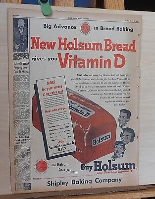 1953 newspaper ad for Holsum Bread - Plus Sunshine Vitamin D, Shipley Baking Co.