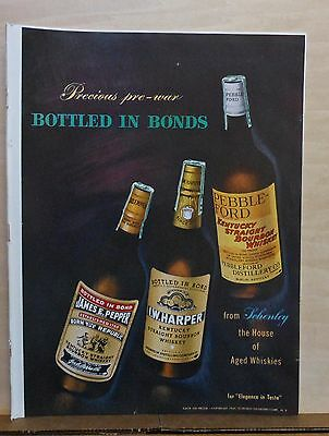1947 magazine ad for Schenley - Precious pre-war Whiskies, I.W. Harper, Pepper