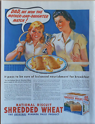 1939 magazine ad for National Biscuit Shredded Wheat - mother & daughter tennis