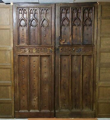 Gothic Period Castle Double Entry Doors (Scotland ca.1480). Carved Oak Iron
